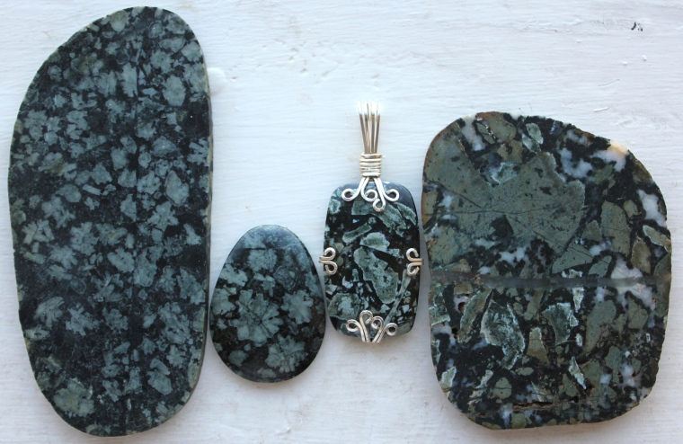 Dallasite and Flowerstone cabochons and slabs from Vancouver Island, by Tommy Lay.
