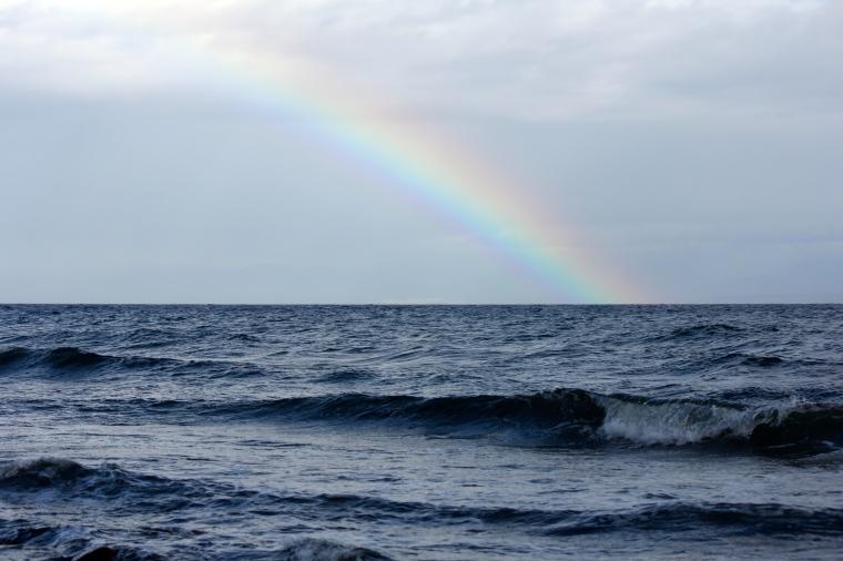 Rainbow through the rain.