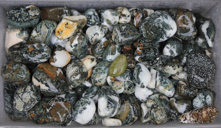 Here's the rough I stuck in my 12 pound tumbler. It's all Dallasite, other beach stones and river stones/quartz,